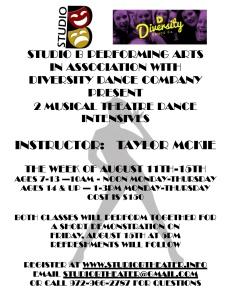 dance intensive flyer mckie august 2014